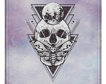 Altar Cloth, Alter Cloth, Tarot Cards, Skull And Moth
