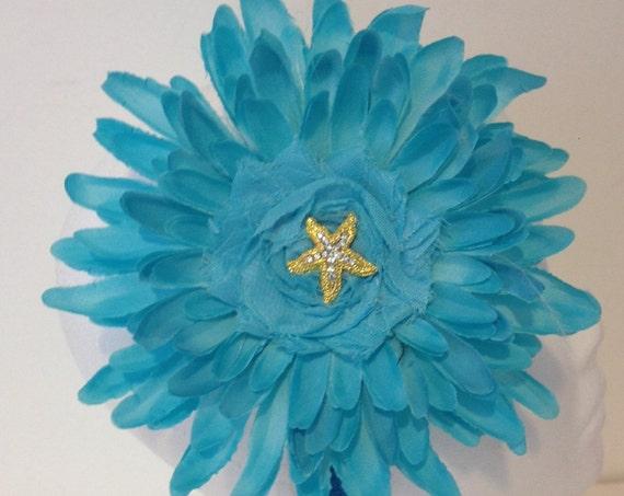 Starfish Headband, Seashell Headband, Turquoise  Floral Headband, Gold  Starfish Flower Headband, White, Purple Flower Headband.