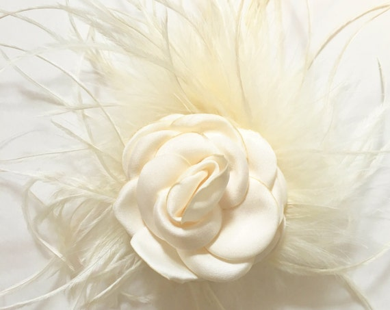 Ivory Floral Hair Clip,Bridal Flower Hair Clip, Gold Flower clip, Wine Floral Clip, Flower Girl Clip, Baby Floral Clip, Baptism