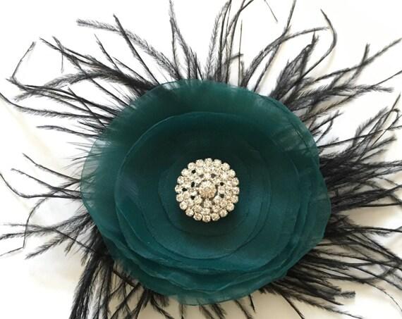 Teal Flower Hair Clip, Teal and Black Feather Hair Piece, Holiday Hair clips, Bridal Hair Flower Clip, Flower Girl Hair Accessories