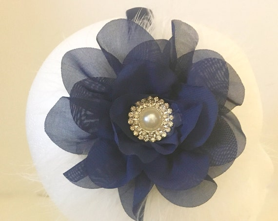 Navy Flower Headband, Navy Pearl Flower Hair Clip, Flower Girl Accessories, Holiday Headband, Bridal Hair Clip, Baby Headband,Portrait Photo