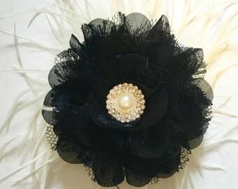 Black Flower Hair Clip, Black Lace Chiffon Hair Flower, Bridal Flower Girl Hair Accessories, Dance Costume Hair piece.