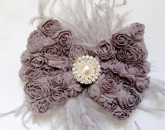 Silver Gray Rosette Hair Bow, Pink, White, Ivory, Mint, Lavender, Purple Hair Bow, Bridal Hair Clip, Feather Hair Bow, Flower Girl Hai