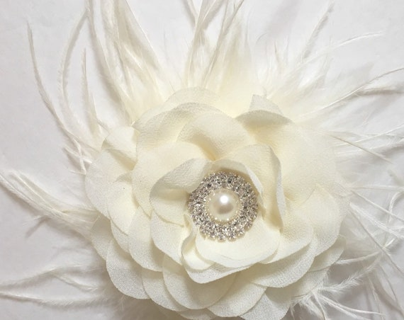 Flower Girl Hair Accessories, Ivory Floral Hair Clip, Bridal Flower Hair Clip, Navy Flower Hair Clip, Feather Hair Clip,