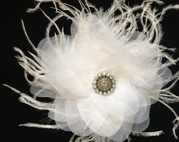 White Bridal Hair Clip, White Organza Flower Clip, Bridal Hair Accessories, Communion Hair clip, Dance Costume clip,