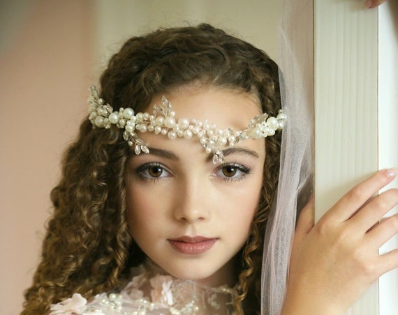 Pearl Crystal Crown Wreath, Bridal Flower Girl Crown Wreath, Pearl Bridal Crown, Hair Jewelry, Bridal Tiara Crown Diamond Pearl Headband