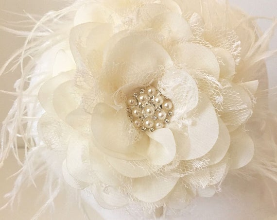 Bridal Headband, Flower Girl Headband, Ivory Lace Pearl Headband, Flower Hair Clip, Flower Girl Crown, Bridal Clip, Floral Headband