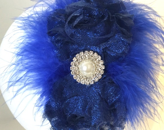 Royal Blue Headband, Holiday Headband, Girls, Flower Girl Headband, Dance Costume Hair,