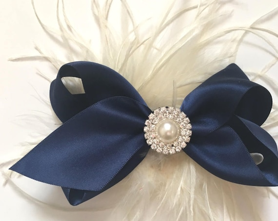 Navy Blue Ivory Hair Clip, Blue Satin Bow, Feather Hair Clip, Flower Girl Hair Bows, Nautical Clip, Wedding Hair Accessories, All Colors
