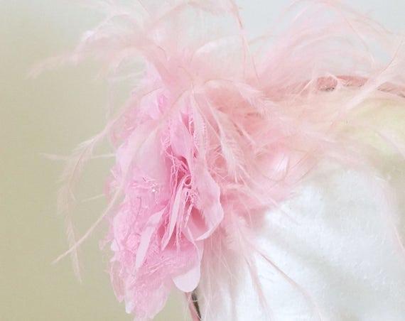 Pink, Flower Feather Headband Fascinator, Flower Girl Headband, Bridal Flower Hair Fascinator, Chiffon Lace Hair Flower Headband