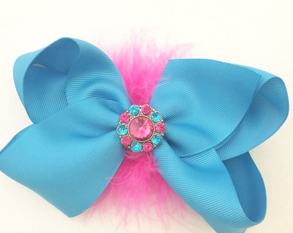 Turquoise Hot Pink Big Hair Bow, 6 inch Hair Bow, All colors, Pink, Purple, Black, White,Red, Hair Bows, Dance Costume Hair Bows, Jo Jo Bow