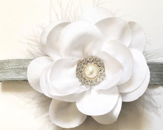 White Headband, Baby Headband, Floral Headband, All Colors, Grey, Navy, Ivory Marabou Headband, Baptism Headband, Flower Girl Headband