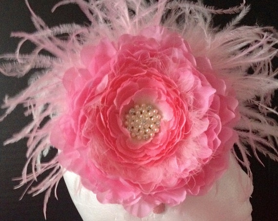 Pink Floral Derby Hat Fascinator, Pink Feather Headband Fascinator, Flower Girl Headband, Bridal Hair Pieces, Dance Costume