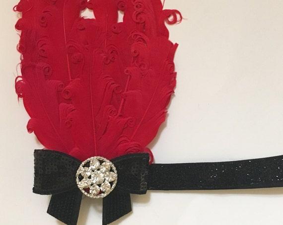 Gatsby 1920's Feather Headband, Red Black Headband,  Hot Pink Black Headband, Black White Gatsby Headband, Dance Great Gatsby Flapper.