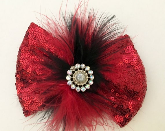 Red and Black Hair Bow, Royal Blue Hair Bow, Sequin Hair Bows, Dance Bows. Silver, Gold, Hot Pink, Black Sequin Hair Bow