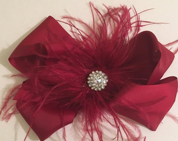 Burgundy Wine Feather Hair Bow, Big Hair Bow, Bridal Hair Pieces, Holiday Hair Bows, Feather Hair Bows, Dance Costume Clip, 7 x 8 Hair Bow,
