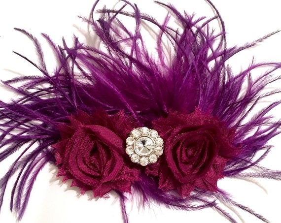 Burgundy Wine Hair Clip, Purple Wine Fascinator, Bridal Fascinator,  Dance Competition Hair piece, Feather Flower Hair Clip