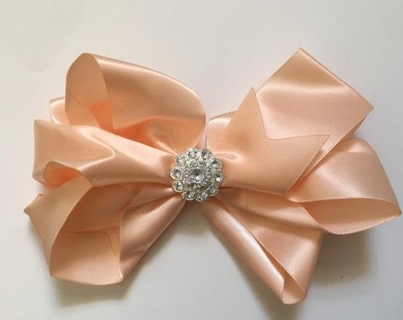 Peach Satin Hair Bow, Flower Girl Hair Bow, All Colors, Purple, Ivory, White, Grey, Burgundy, Black Satin Hair Bows