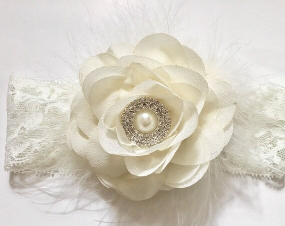 Baby Baptism Headband,Ivory Lace Flower Headband, Ivory Flower Lace Headband,  Mint Flower Headband, Wedding Flower Headband,