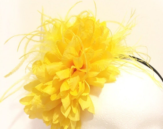 Yellow Fascinator Headband Sunflower Headband Fascinator,Kentucky Derby Hat Headband Fascinator,Red BlackFlower Headband,Big Flower Headband