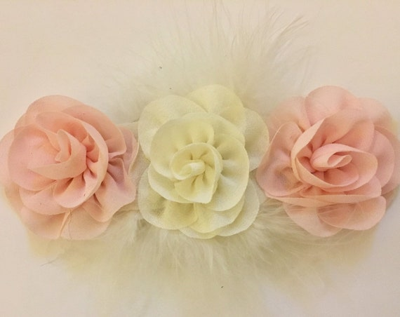 Floral Marabou Headband, Blush Pink Ivory Clip, Mint Ivory Clip, Red White Clip, Blossom Flower Clip, Custom Baby Clip
