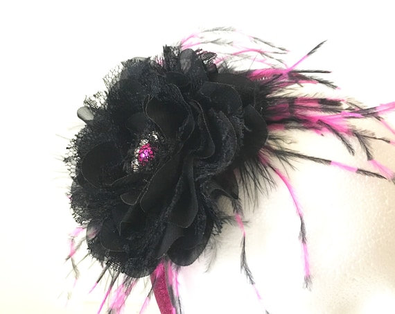 Girl Headband, Pink Black Fascinator Headband. Hot Pink and Black Feather Flower Headband,Flower Girl Headband, Dance Costume