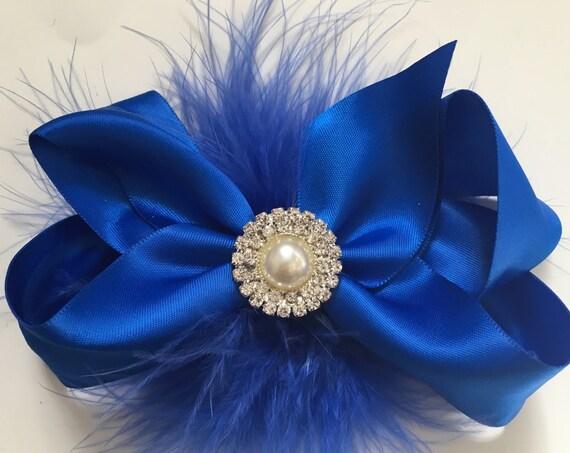 Royal Blue Hair Bow, Holiday Satin Hair Bow, Navy Satin Pearl Hair Bow, Flower Girl Hair Bows,