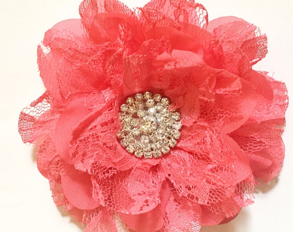 Floral Coral Hair Clip, Bridal Hair Accessories, Chiffon Lace Flower Pearl Hair Clip, Flower Girl Hair Clip