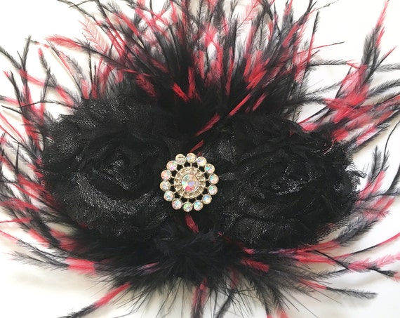 Black Red Feather Clip, Red Black Hair Clip, Black Hair Bow, Holiday Hair Clip, Dance Costume, Black and Pink Girl Hair Clip, Portrait Photo