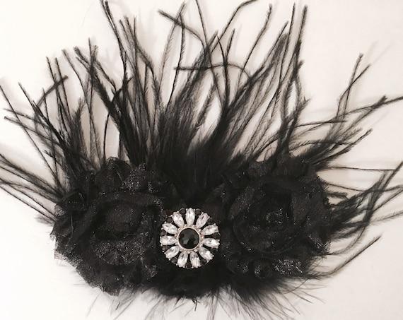 Black Hair Clip Black Feather Clip, Black and White Clip, Holiday Clip, Bridal Hair Clip, Brides Maid Hair clip, Glitter Black Hair Clip