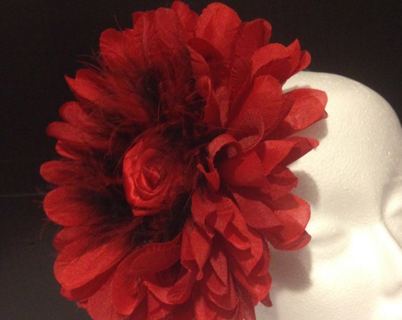 Red Black Fascinator Headband, Pageant Headband, Kentucky Derby Fascinator Headband,Pageant Headpiece,Big Flower Headband Fascinator