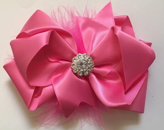 Pink Satin Marabou Hair Bow, Spring Easter Hair Bows, Flower Girl Hair Bow, Dance Costume Hair Piece. Hot Pink Feather Hair Bow