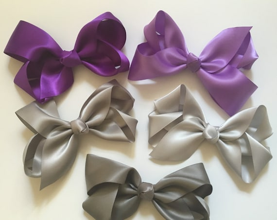 Boutique Satin Hair Bow, All Colors, Lavender, Purple, Pink, Hot Pink, Ivory, White,Royal Blue,Navy, Turquoise, Grey Satin Bow, Flower Girl