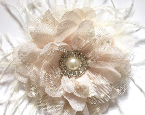 Wedding Flower Hair Clips, Nude Tan Beige Flower Clip, Bridal Hair Clip, Lace Chiffon Flower Clip, Ivory Flower Hair Clip, Flower Girl Clip