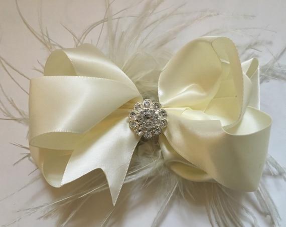 Ivory Feather Hair Bow, Bridal Hair Bow, White, Silver, Burgundy Hair Bow, Flower Girl Bow, Portrait photo