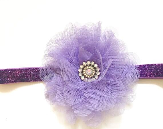 Lavender Baby Headband Lavender Flower Stretch Glitter Headband, Spring Easter Hair Flower Clip, Headband,Flower Girl Headband