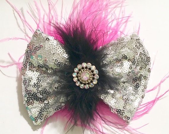 Dance Costume Hair Bow, Silver Black Pink Sequin Feather Hair Bow Hair Piece, Dance Competition Hair Piece, Fancy Girl BoutiqueNYC