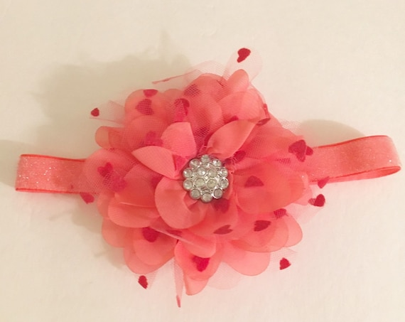 Coral Baby Headband, Floral Coral Lace Glitter Stretch Headband. Flower Girl Headbands, Fancy Girl BoutiqueNYC