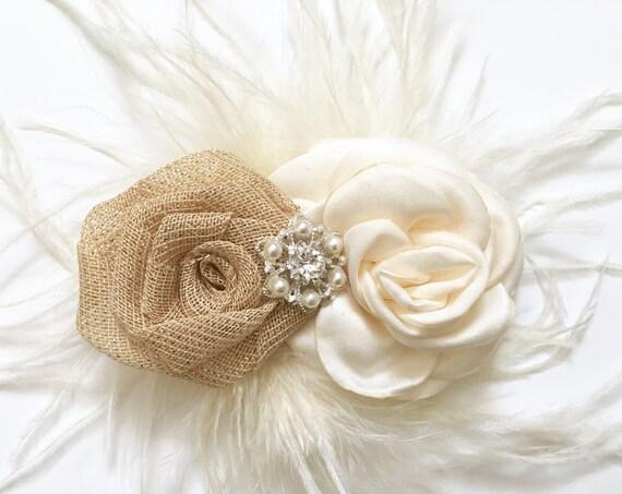 Rustic Hair Clip, Rustic Flower clip, Rustic Wedding Clip, Bridal Hair Clip, Flower Clip, Burlap Ivory Clip, Woodland  Hair Clip, Ivory Clip
