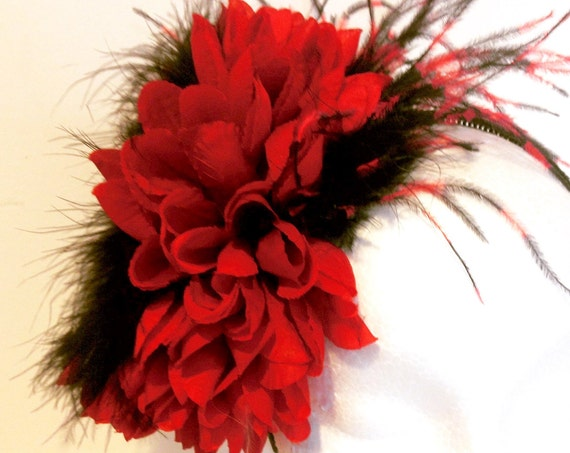 Red Black Headband Fascinator Headband, Red Derby Headband, Big Floral Feather Headband, Dance Costume, Bridal Headband