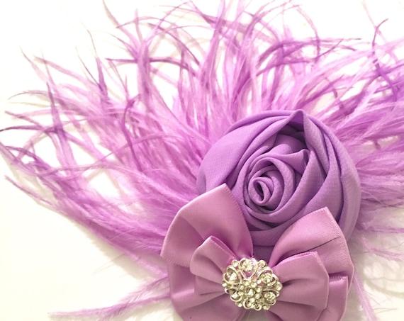 Lavender Floral Hair Clip, Kentucky Derby Headpiece, Spring Wedding headpiece, Bridal Fascinate, Wedding Fascinator,Lilac Flower Clip
