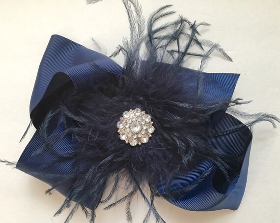 Navy Blue Hair Bow, Back to School Navy Feather Hair Bow, Flower Girl Hair Bow, Bridal Feather Hair Bow, Dance Costume Feather Hair piece