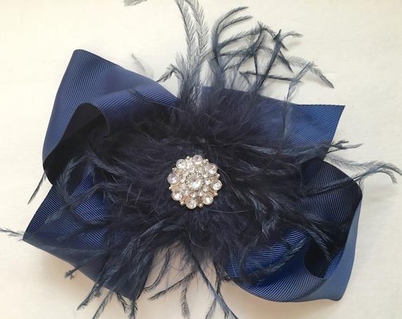 Navy Hair Bow, Big Hair Bows, Feather Hair Bows,Navy Feather Headband,Blue Feather Hair Bow, School Blue Headband, Girls Blue Bow Headband
