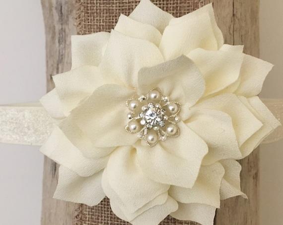 Ivory Cream Baby Headband, Ivory Pearl Flower Headband, Bridal Baby Headbands, Baptism Headband, Ivory Pearl Rhinestone Chiffon Flower