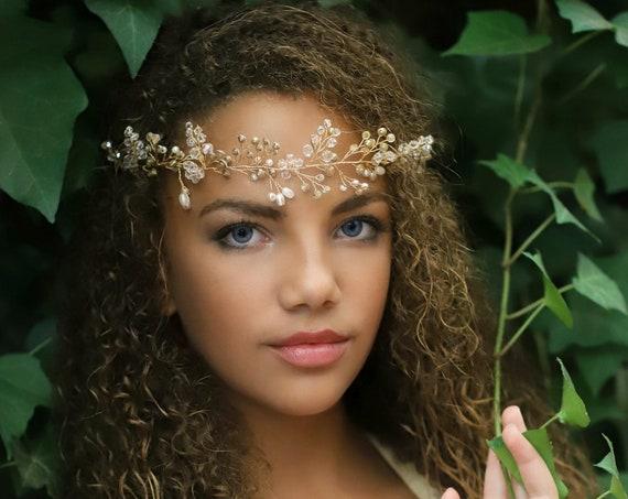 Crystal Crown Wreath, Bridal  Crown, Gold Crystal Crown,Flower Girl Silver Crown, Crystal Gold Wreath, Communion Crown, Bridal Hair Jewelry