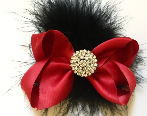Red Hair Bow, Valentine Hair Clip, All colors, Black Hair Bow, Red Black, Gray Hair Bow, Navy Hair Bow, Flower Girl Hair Bow, Portrait Photo