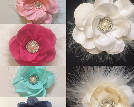 Flower Girl Hair Clips,Floral Hair clips,White Flower Hair Clip, Bridal Clips, Lavender, Ivory, Navy, Grey, Mint, Pink, Coral Flower Clips