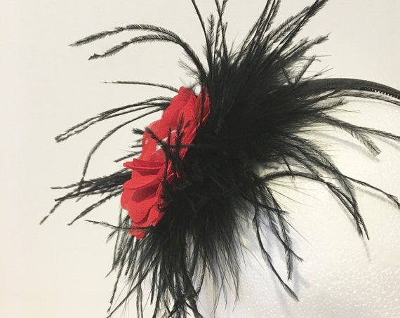 Red Black Feather Headband, Red Flower Feather Headband, Derby Feather Hat, Bridal Headband,Pageant Headband,Wedding Hair Accessories