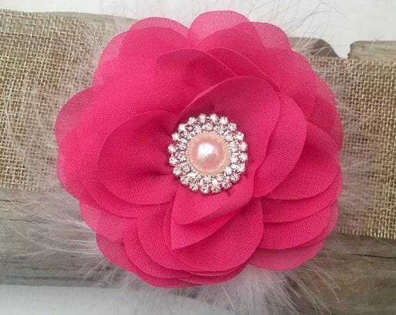 Pink Flower Hair Clip, Flower Girl Hair Clip, Hot Pink Pearl Clip, Baby Headband, Bridal Hair Accessories, Easter Bow,