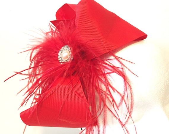Red Fascinator, Feather Bow Headband, Derby Hat Headband, Custom Feather Hair Bow Headband, All colors